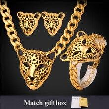 Cabeza de leopardo choker collar pulsera pendientes set para las mujeres chapado en oro de joyería de moda de joyería de la vendimia set neh727