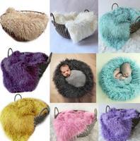 100*160 New Solid Color Faux Fur Receiving Blanket Basket Stuffer Mongolia Fur Infant Newborn Photography Props