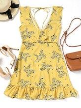 Women Ruffled Belted Floral Mini Dress Sleeveless Asymmetrical Hem Bowknot V-Neck Dresses Summer Beach Wear Dress Vestidos