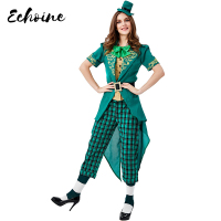 Echoine Elf Costumes Cosplay Women Halloween Costume Christmas Forest Fancy Green Elf Carnival Purim Costume For Adult Clothing