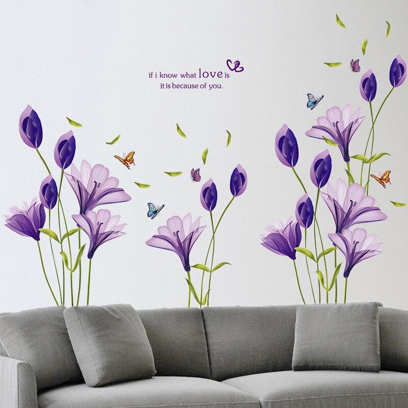 Amor roxo flor lírio removível vinil decalque adesivo de parede mural diy arte sala estar decoração da sua casa papel de parede decorativo 60*90cm