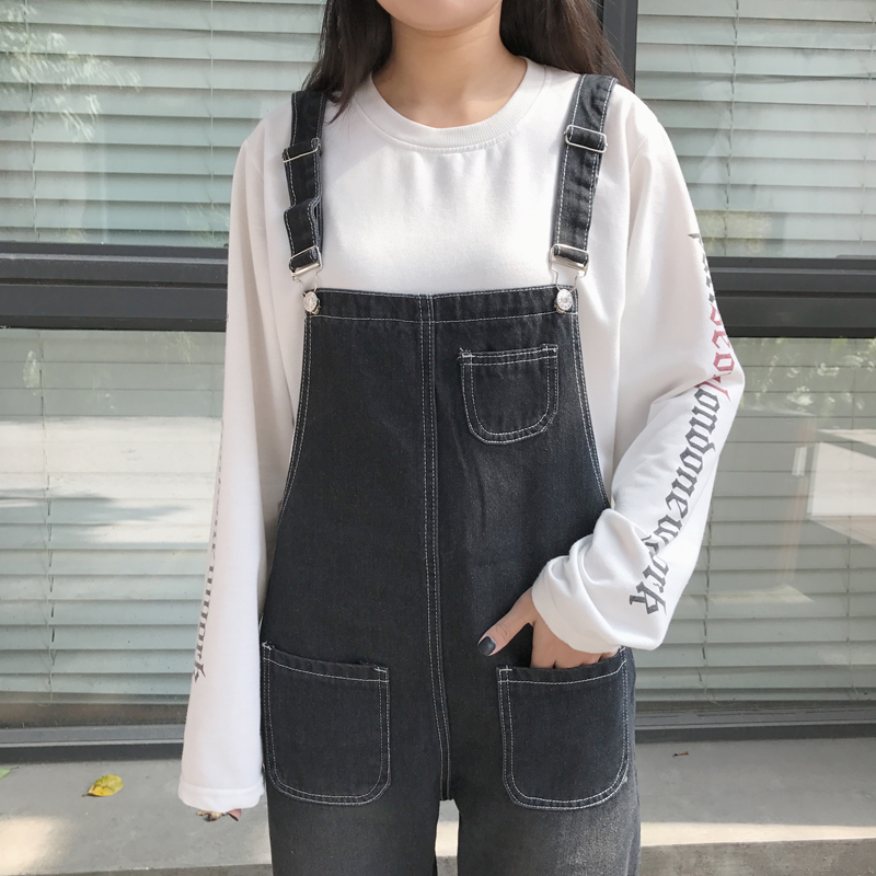 Autumn Korean Style Ulzzang Harajuku Denim Romper Korean BF Style Denim Romper For Female Loose High Waist Ankle Length Romper 3