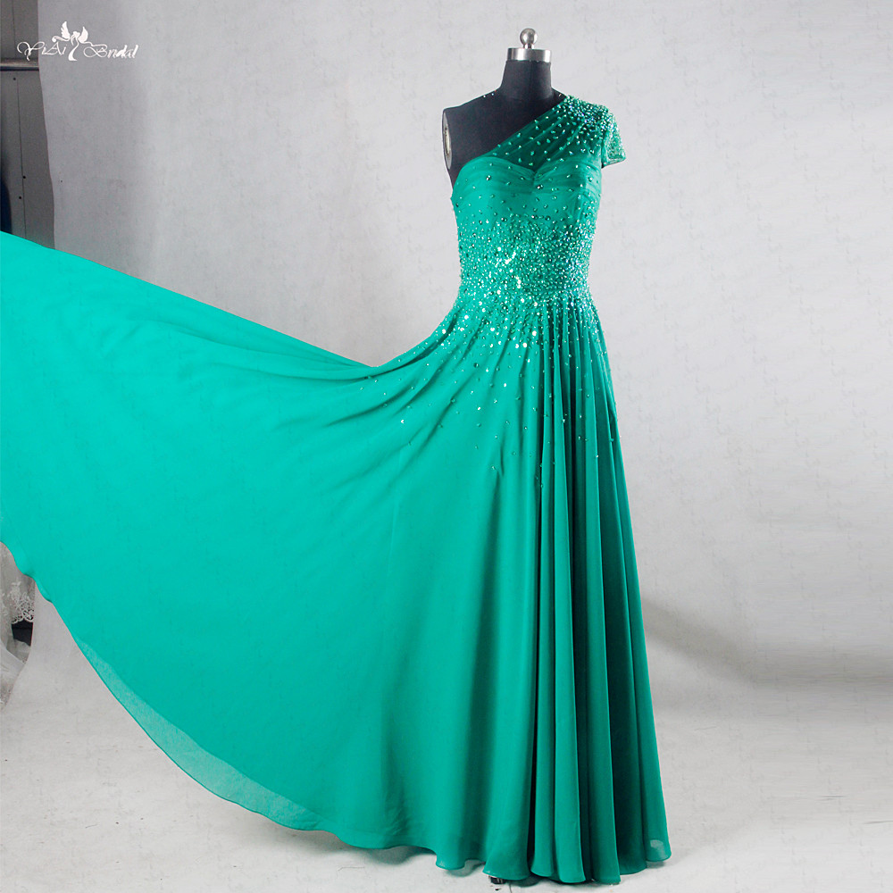 RSE730 One Shoulder Chiffon Bling Bling Emerald Green Prom Dress Evening Party