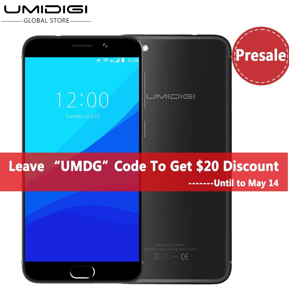 Цена за Umidigi G Оригинальный Телефон Android 7.0 Смартфон 2 Г RAM 16 Г ROM 4 Г lte touch id dual sim 5 ''hd quard ядро сотовый мобильный телефон