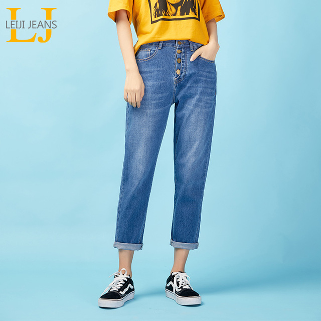LEIJIJEANS  New Arrival spring High waist loose plus size tapered nine points jeans for women  Four-breasted women jeans 9027