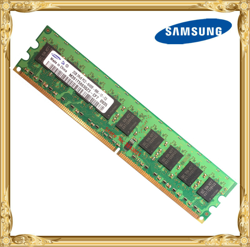 Samsung Server memory DDR2 2GB pure ECC 800MHz PC2-6400E UIMM RAM 240pin 6400 2G 2Rx8 promotion hot sale additional memory 2gb pc2 6400 ddr2 800mhz memory for notebook pc