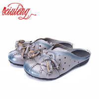 Women Sandals Summer Shoes 2017 New Female Fashion Soft Genuine Leather Hollow Out Moccasins Mother Shoes