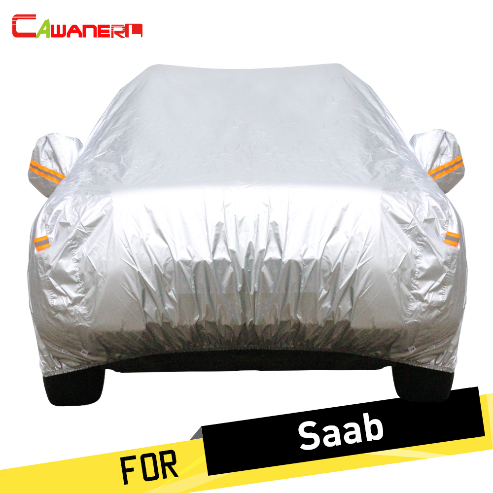 Cawanerl Auto Car Cover Outdoor Anti UV Sun Rain Snow Resistant Cover Dust Proof For Saab