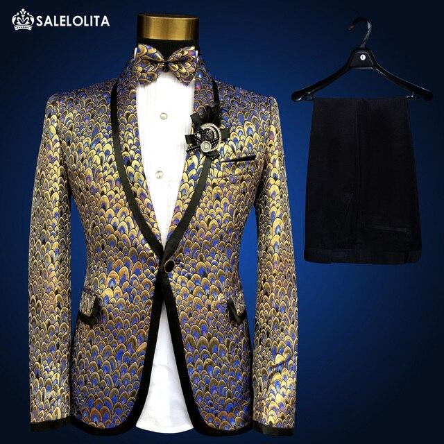 2017 Date Élégant Or Paillettes Hommes De Mode Costumes Veste Marque grande  taille Médiévale Prince Discothèque f5553e11dae