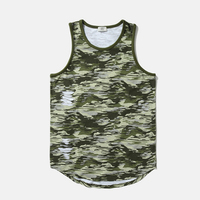 ONCEGALA Ripped Curved Hem Hipster Tank Top Men 2017 Summer Destroyed Camouflage Hip Hop Tank Top Camo Men's Tops Shirt