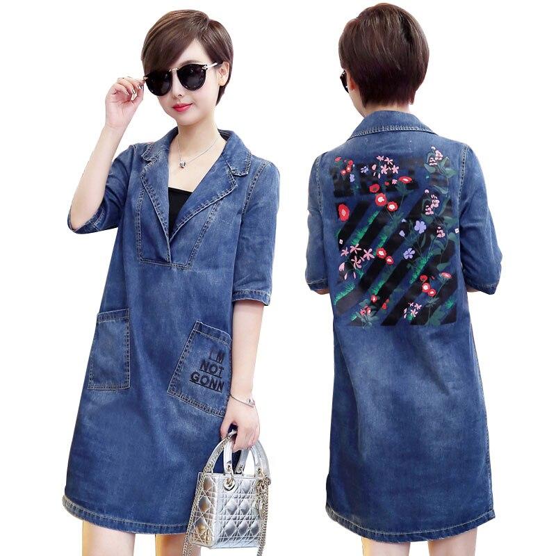 2018 nuevo más tamaño vestido de mezclilla mujeres primavera otoño moda casual suelta v-cuello media manga de impresión azul Vaqueros vestido m-5xl w169