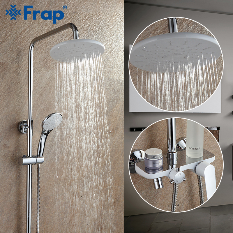 FRAP Sanitary Ware Suite Bathroom Shower Faucet Bath Shower Mixer Taps Rainfall Shower Head Set Waterfall Bathtub Faucet