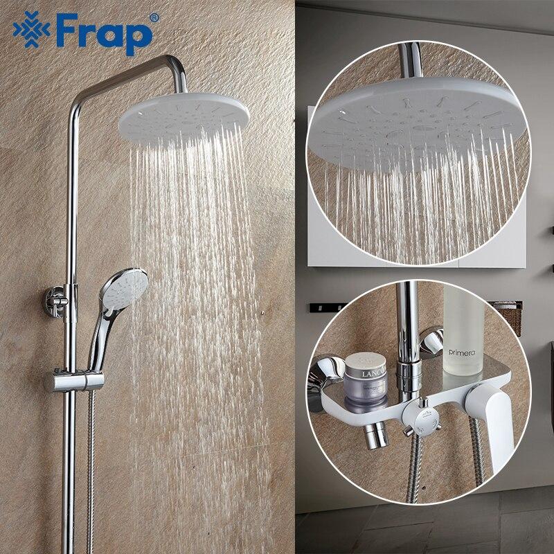 FRAP Sanitary Ware Suite bathroom shower faucet bath shower mixer taps rainfall shower head set waterfall bathtub faucet       FRAP Sanitary Ware Suite bathroom shower faucet bath shower mixer taps rainfall shower head set waterfall bathtub faucet