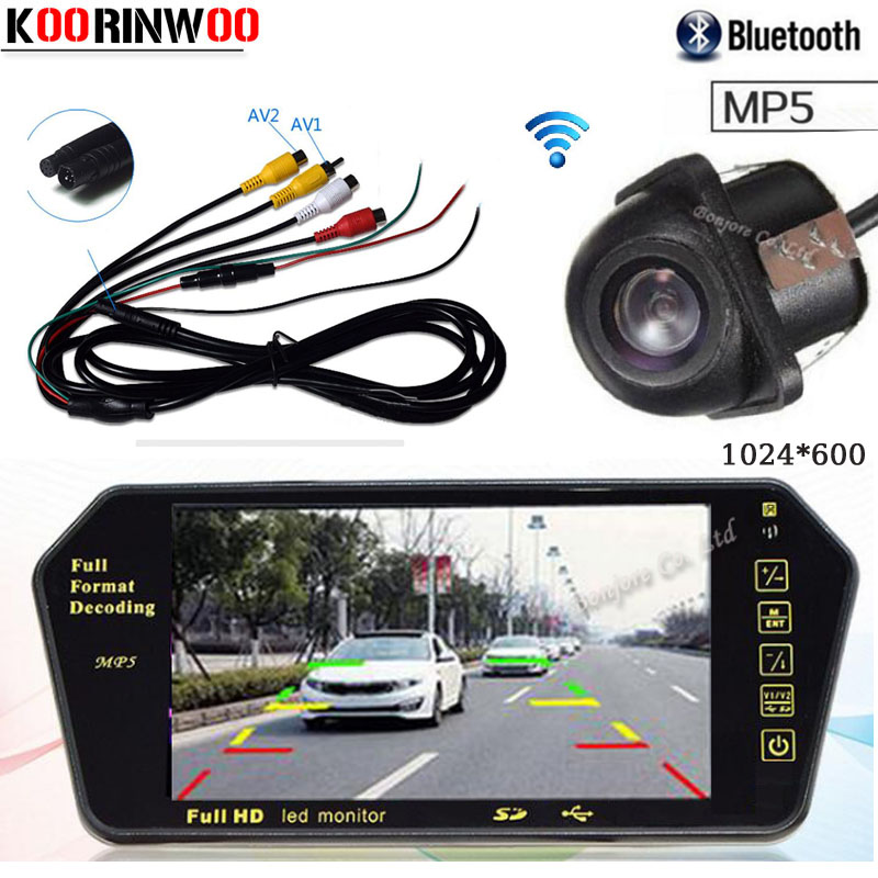 Koorinwoo Wireless Adopter <font><b>7</b></font> <font><b>Inch</b></font> Car <font><b>Monitor</b></font> Multi Media System 1024*600 Bluetooth for calling MP5 Car rearview camera Backup image