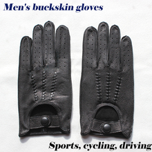 Leather buckskin gloves mens driving thin unlined new fashion hollow style spring and summer outdoor sport riding driver