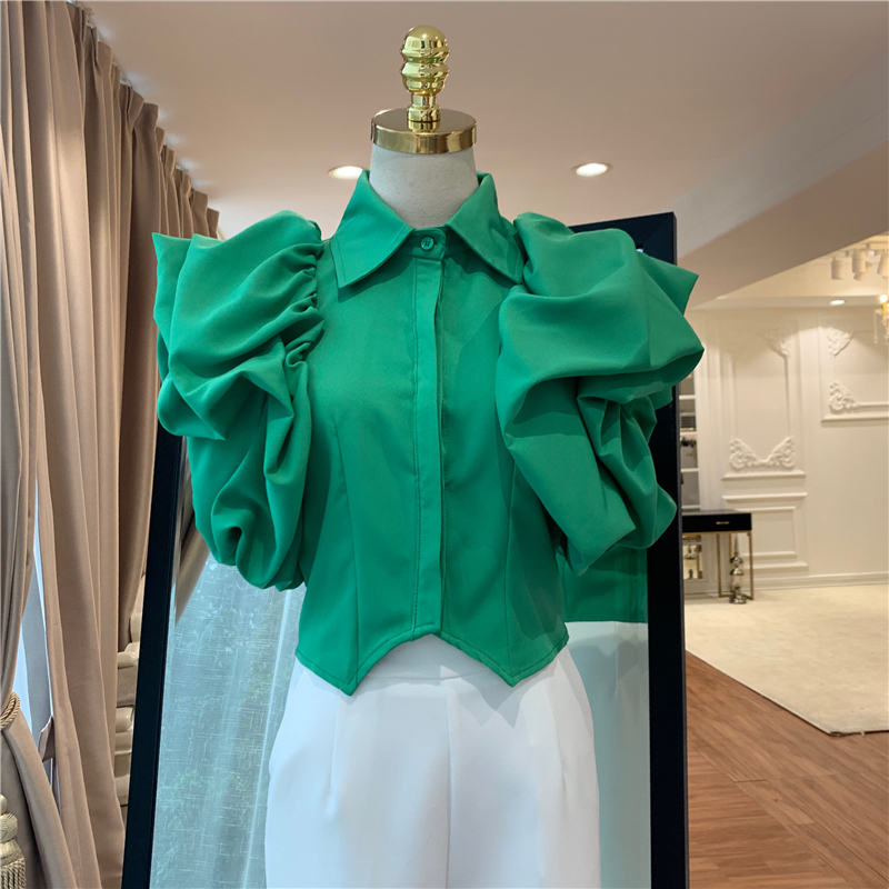 HIGH QUALITY Newest 2019 Fashion Runway Designer Tops Women's Puff Sleeve   Blouse     Shirt