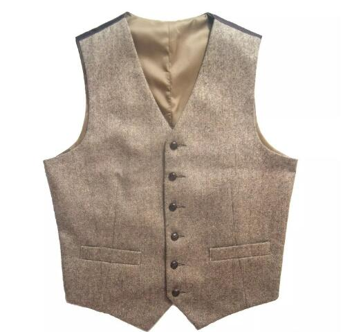 2018 Tweed Vintage Rustic Wedding Vest Brown with Leather Effect Buttons Winter Slim Fit Groom\`s Wear