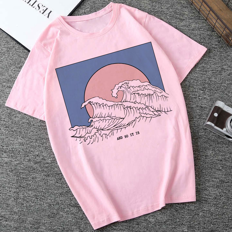 New 2019 And So It Is Ocean Wave Aesthetic T Shirt Women Tumblr 90s Korean Fashion Tee Cute Summer Tops Casual Tee Shirt Femme in T Shirts from Women 39 s Clothing