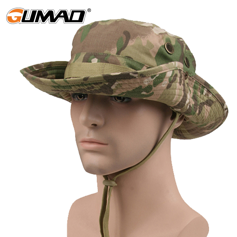 Camouflage Outdoor Fishing Cap Sunscreen Sun Bucket Hat Camping Climbing Military Army Airsoft Jungle Bob Wide Brim Bonnie Cap 2017 fashion summer girls kids children cap princess rose flower decor straw beach sun wide brim hat