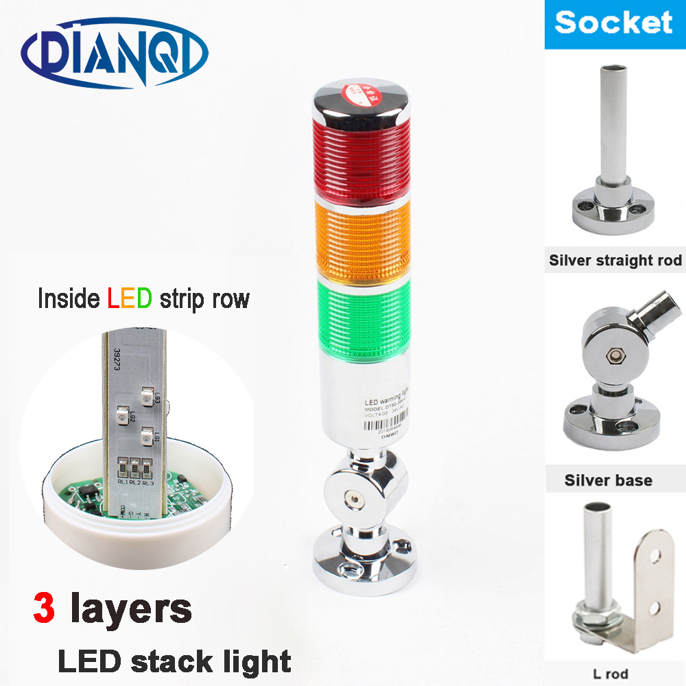 Rotatable 12V 24V 110V 220V Safety Stack Lamp Industrial Tower Signal Light LED Sliver Indicator Light 3 Layers Base Red Yellow