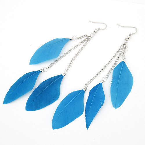 Real Long Feather Drop Earrings (black, brown, blue, red)