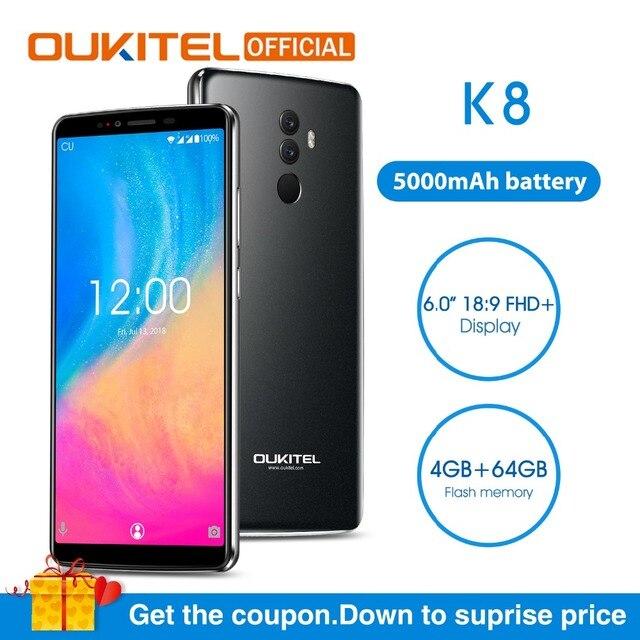 "OUKITEL K8 Android 8.0 6.0"" FHD+ 18:9 MTK6750T Octa Core 4G RAM 64G ROM 5000mAh 13.0MP+5.0MP Fingerprint Face ID Smartphone"