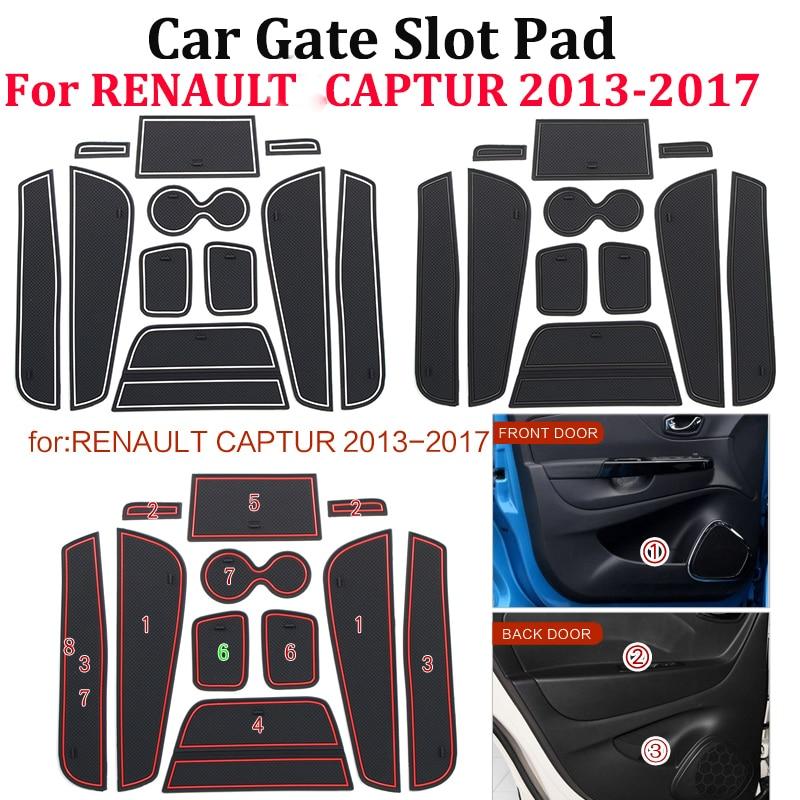 11pcs/set Anti-Slip Mat Anti Slip Non-slip Gate Slot Cup Pad Door Interior Decoration Acccessories For RENAULT CAPTUR 2013-2017
