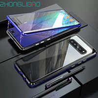 Funda metálica magnética de lujo S10plus para Samsung S10 5G S9 S8 Plus Note 9 8 S10e cubierta protectora frontal de cuerpo completo de cristal 360