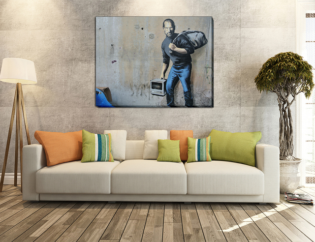 1 Pcs Modern Banksy Art Apple Founder Steve Jobs Wall Cheap Kids With Dustbin Painting