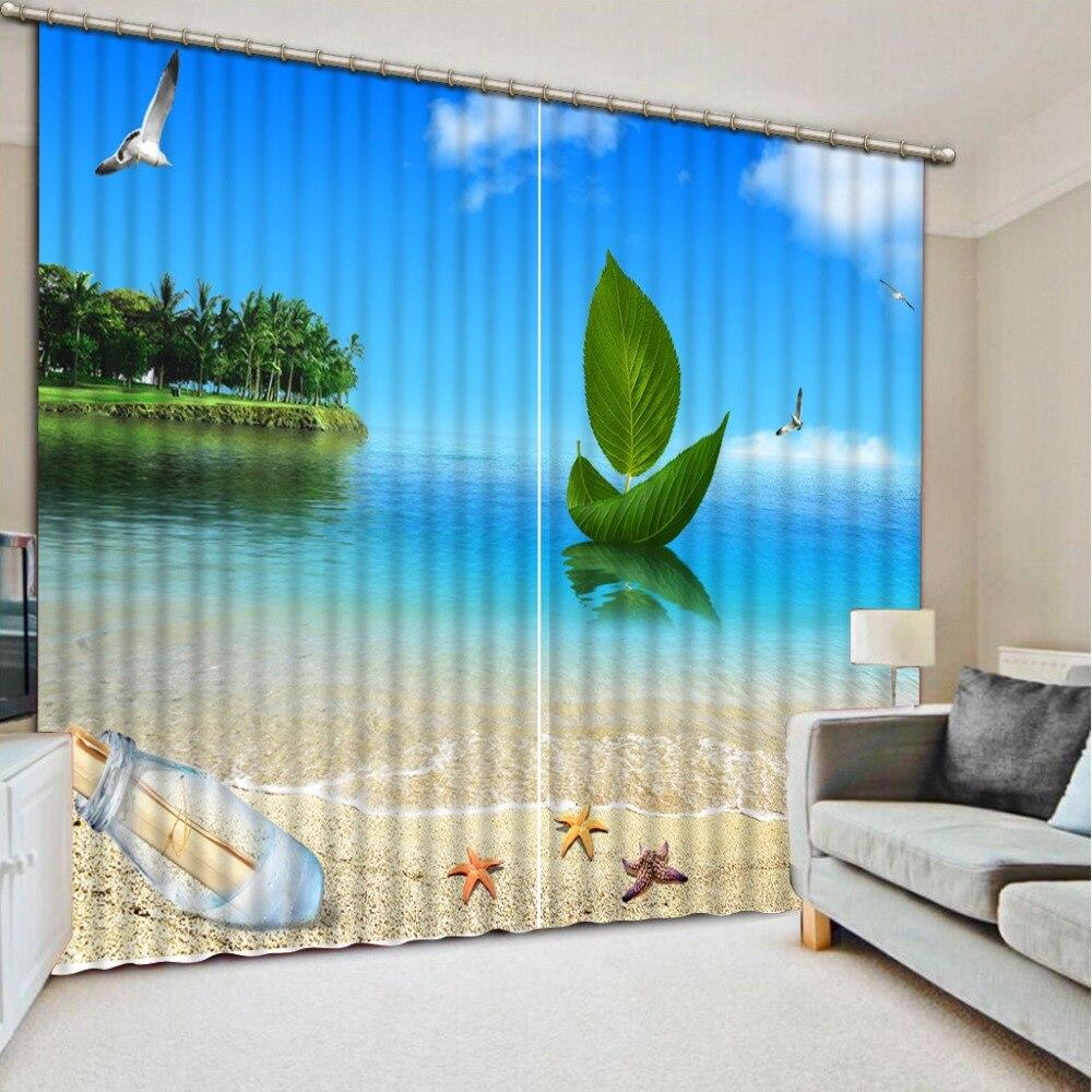 Tende Blackout 3D stampa Moderna paesaggio spiaggia Tende natura paesaggio Sheer Tende Per La Decorazione Domestica