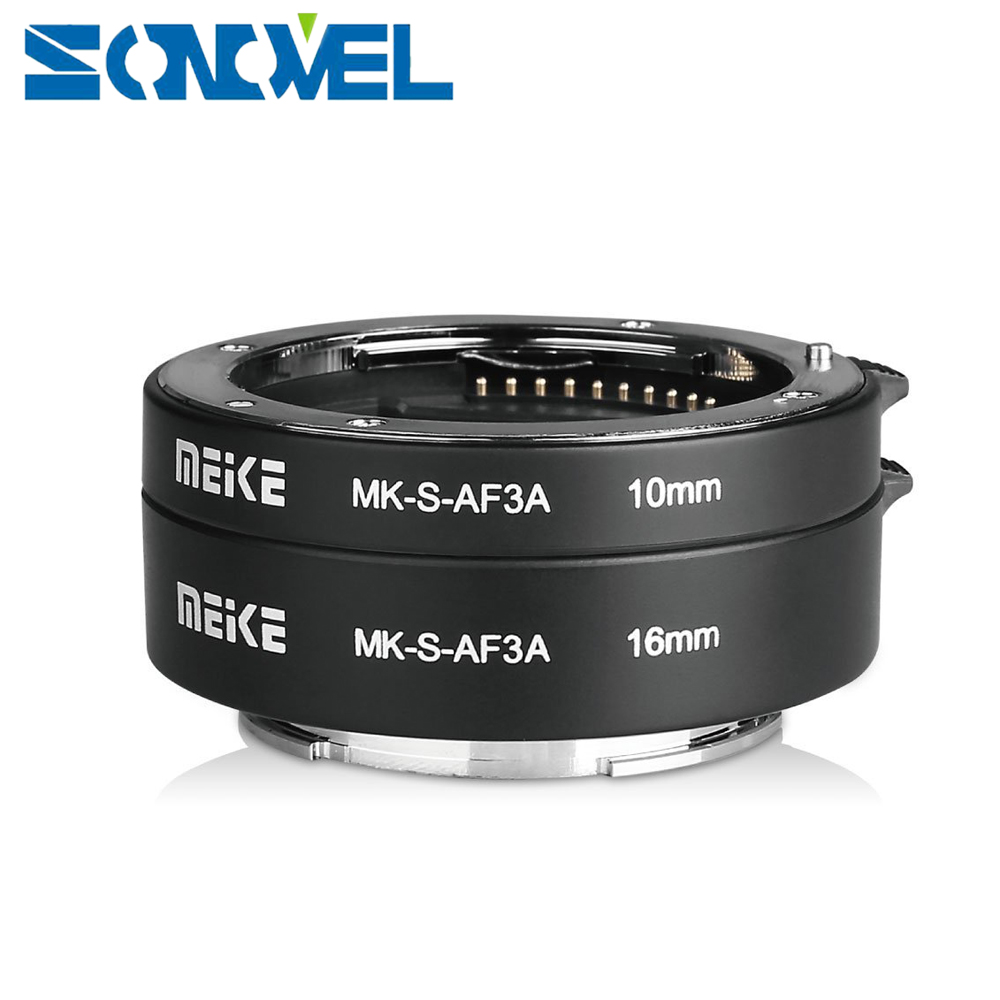Meike Auto Focus Ring Macro Extension Tube 10mm 16mm pour Sony E-Montage FE-Montage A7SII A7R NEX-F3 NEX-6 NEX-7 NEX-5T A6300 A6500 caméra
