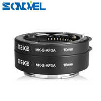Meike Auto enfoque Macro extensión tubo 16mm 10mm para Sony E-Mount FE-montaje en A7SII A7R NEX-F3 NEX-6 NEX-7 NEX-5T A6300 A6500 Cámara