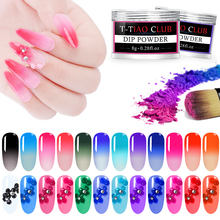 T-TIAO CLUB 8g Temperature Change Dipping Nail Powder Thermal Color Changing  Acrylic Glitter Dust Pigment DIY Manicure Art