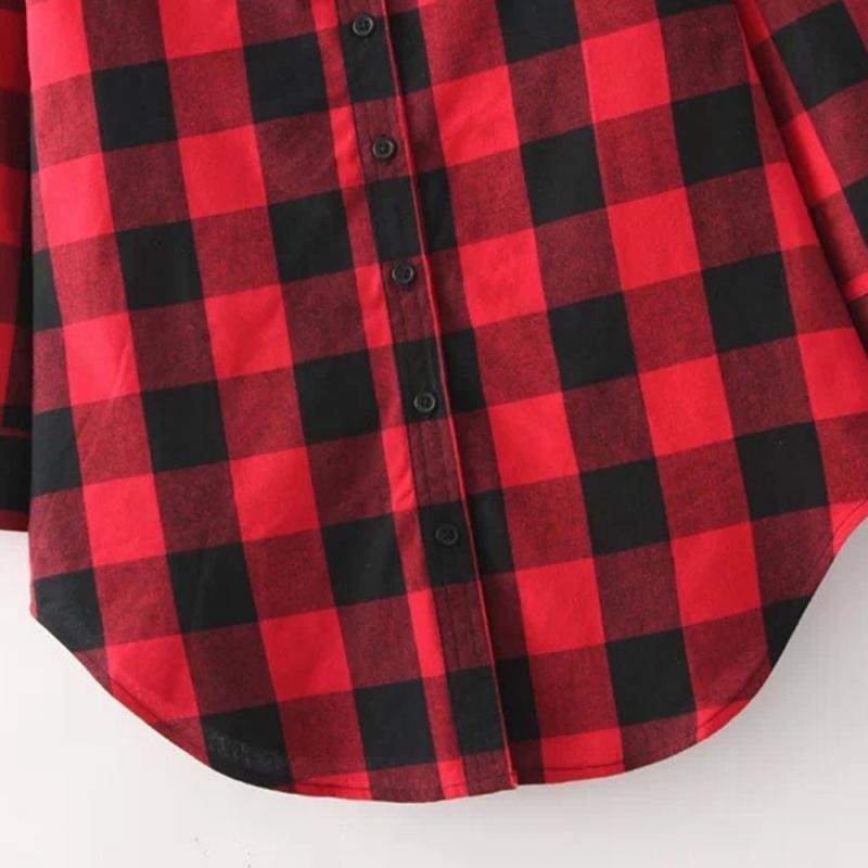 HTB1Esx1JFXXXXXVaXXXq6xXFXXXT - Flannel Shirt Women Black And Red Ladie Top Casual Blouse