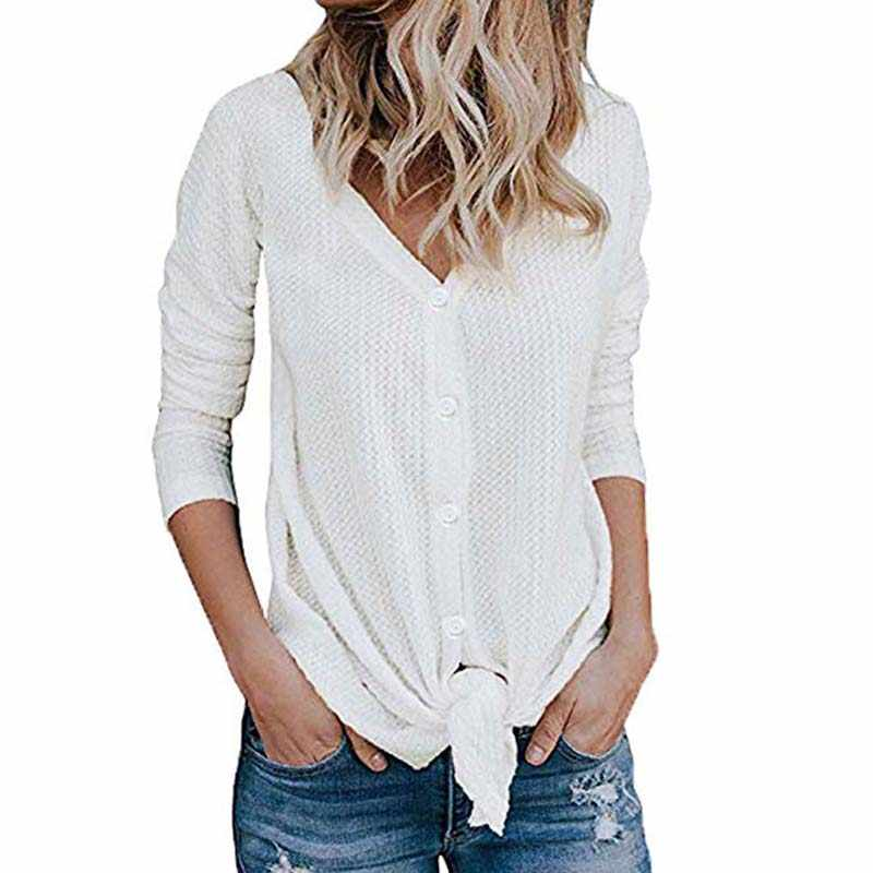 c14af1190 ... Women Waffle Knit Tunic Blouse Tie Knot Henley Top Loose Fitting Bat  Wing Plain Shirt Button ...