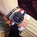 Цвет смесь ткачество веревка ремешок женские часы Простой классический черный циферблат Аналоговые Кварцевые Часы Платье Часы relogio feminino