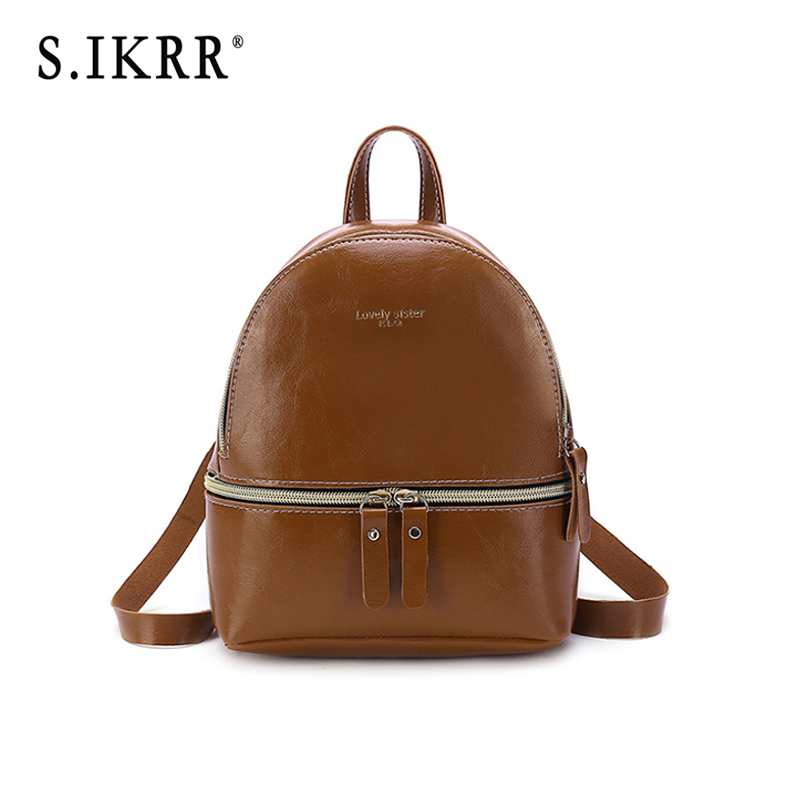 S.IKRR New Designer Fashion Women Backpack Mini Soft Touch Multi-Function Small Backpack Female Ladies Shoulder Bag Girl Purse