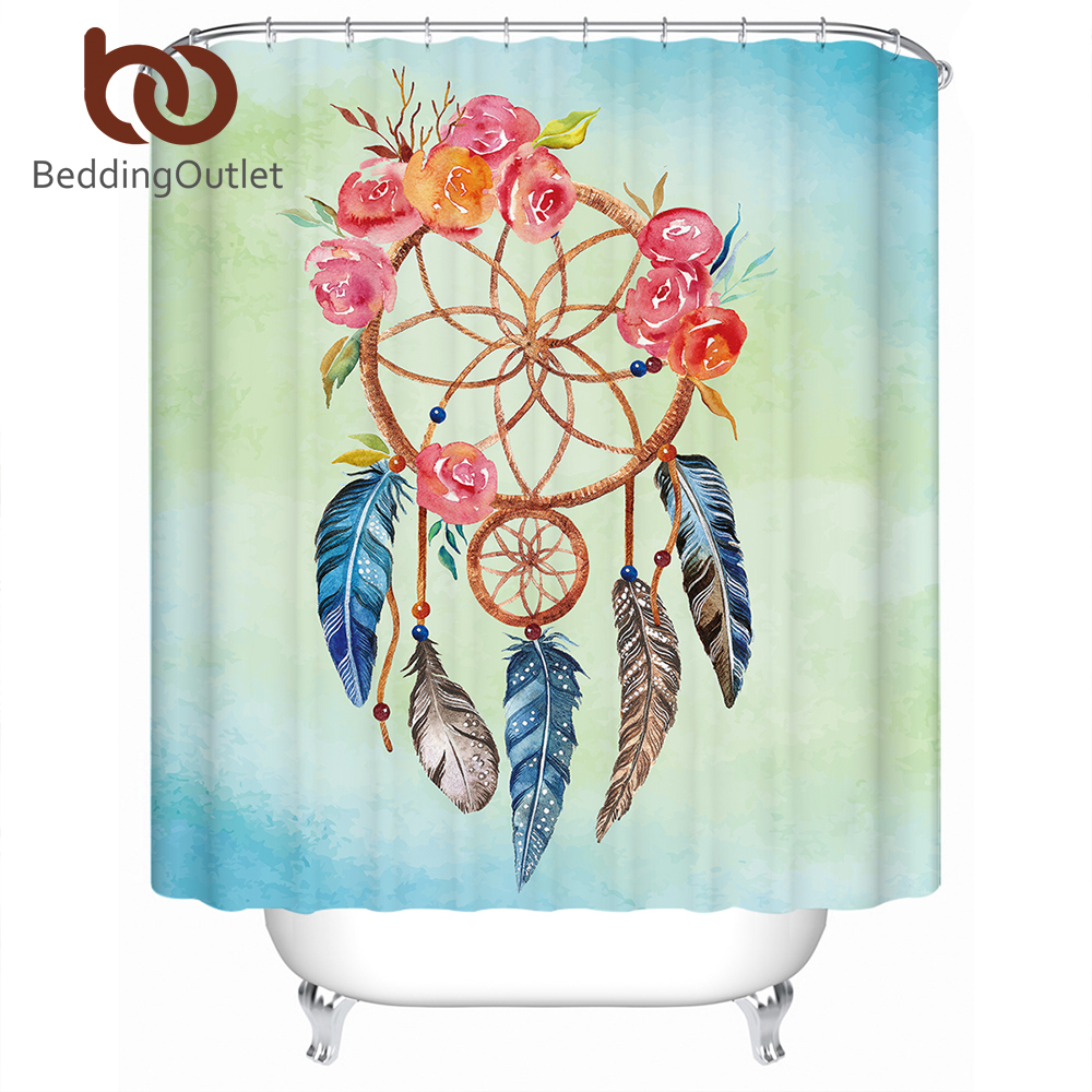 BeddingOutlet Dreamcatcher Shower Curtain Floral Rose Polyester Waterproof Bathroom With Hooks 150x180 Rideau De Douche