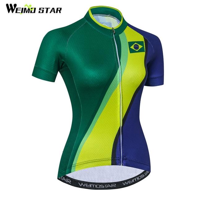 Special Price Weimostar Brazil Team Women Cycling Jersey Top Summer  Downhill Bike Jersey Quick Dry MTB 72e621d3d