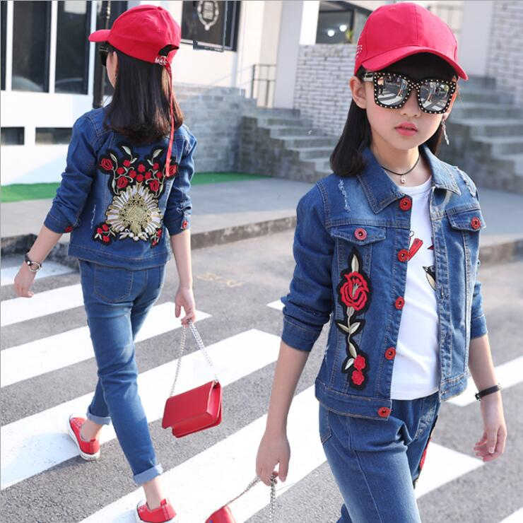 Girls Sports Cowboy Suits Spring Autumn Children Embroidery rose Jacket Fashion Kids Clothing Sets 3 Pieces Cowboy Suits 4-13T 2016 fashion spring autumn girls suits brand designer flower children set sweatshirts coats jeans t girls 3 sets