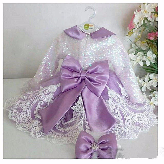 2017 Long Sleeves flower girl dresses with violet Bow Lace Baby Birthday Party Dress ball gowns toddler princess pageant dresses