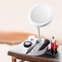 New Hot Foldable LED mirror professional 10X magnifying mirrors Tri fold Desktop mirror make up tool with storage box YF2018