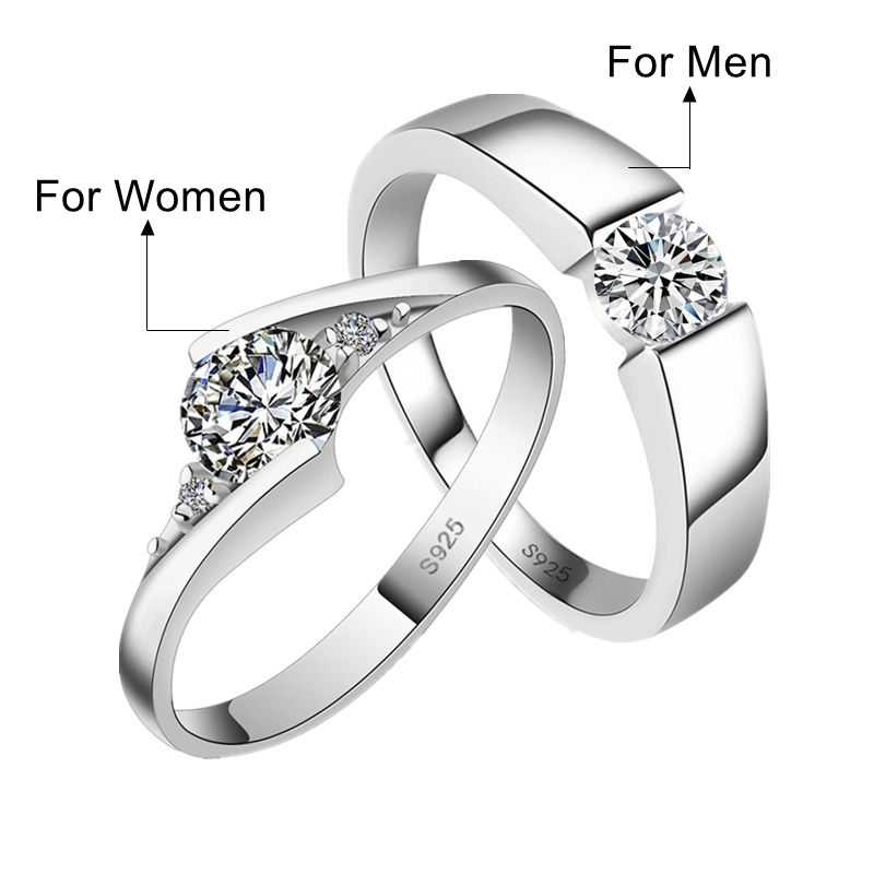 Never Fade Couple Rings 2018 New Fashion Silver Color Jewelry Austrian Crystal Cub Zircon Men Wedding Ring For Women Full Size