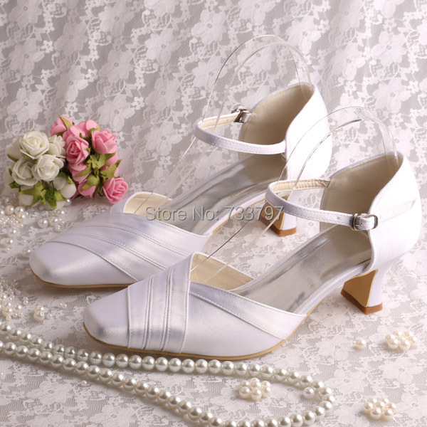 Wedopus Custom Satin White Bridal Low Heel Wedding Shoes Square Toe Dropship акустика центрального канала heco elementa center 30 white satin