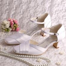 Wedopus Пользовательские Атласные Белые Свадебные Низкий Каблук Свадебная Обувь Площади Toe Dropship