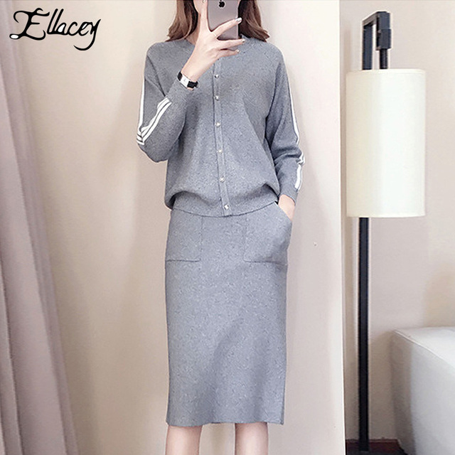 dcdd792f2dc2 Ellacey Knitted Two Piece Set Female Autumn Winter Pencil Skirt Suit ...