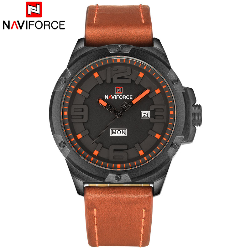 NAVIFORCE Top Brand Mens Wristwatches Men Waterproof Sport Watches Leather Analog Quartz-Watch Auto-Date Clock Relogio Masculino sulaiman oladokun olanrewaju ab saman abd kader and adi maimun safety and environmental risk model for inland water transportation