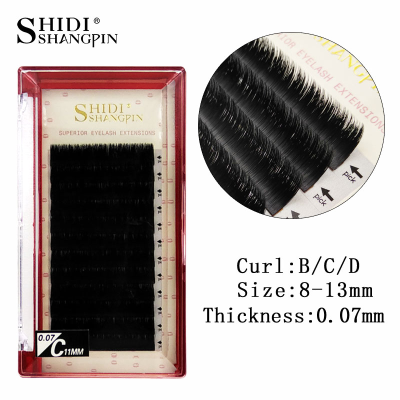 12Row/Tray 0 07mm B/C/D Curl Mink Eyelash Extension Thin Soft Individual  Eyelashes 8~13mm Makeup For Fake Eye Lashes Extensions