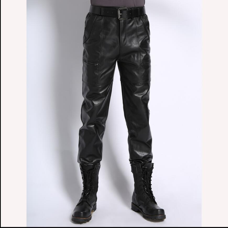 M 8XL Haining среднего возраста натуральная 100% овчина кожаные брюки мужские зимние плюс бархатные толстые ветрозащитные мотоциклетные кожаные б
