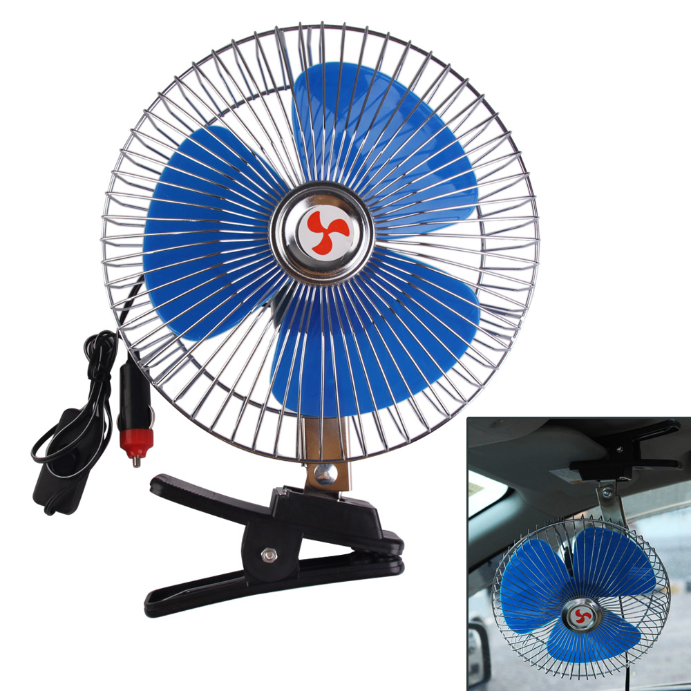 High Quality 8 Inch 12V Portable Vehicle Auto Car Fan Oscillating Cooling Fan With Cigarette Lighter Car Charger High Quality